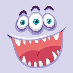 Creepy three eyed monster face