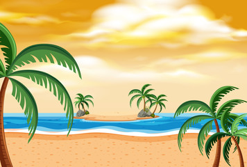 Summer beach landscape sunset