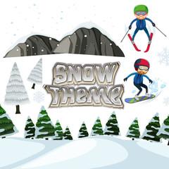 Winter snow landscape theme