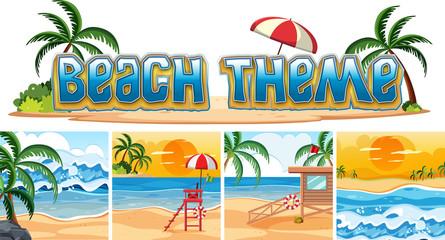 Set of beach background