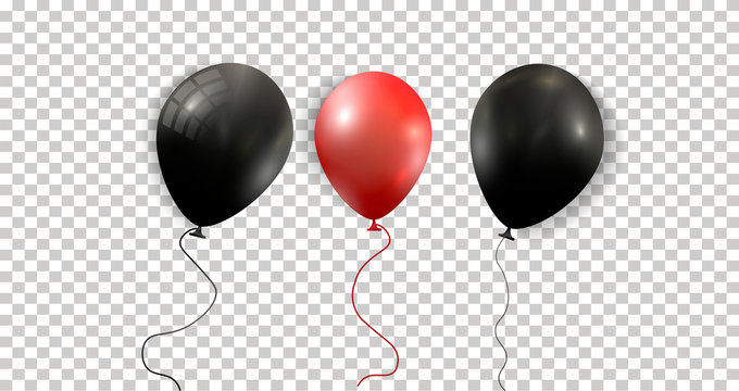 Black and RED Balloons. Realistic Helium Balloons Isolated on Transparent Background. Holiday Decoration Element for Events and Promotions. Vector eps 10.