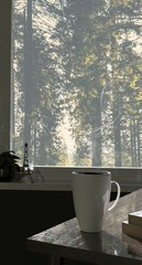 3d render of white coffee cup window view