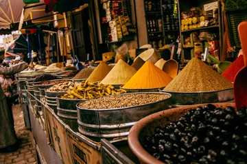 Close up of spices for sale in market shop
