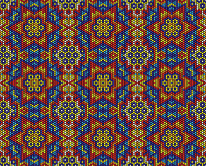 abstract seamless pattern of mexican huichol art style