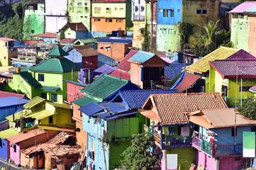 Jodipan village with painted colorful houses ( Kampung Warna Warni ) Malang City, East Java, Indonesia