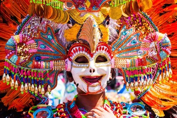 Close up of colorful mask headdress