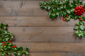 Holly Christmas Background with Berries