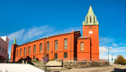 Panorama of the Saint Petri church, or 'Petrikirken' in Stavanger city.