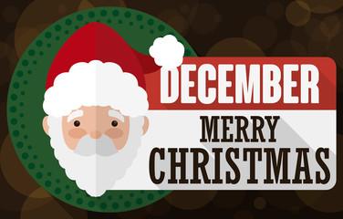 Loose-Leaf Paper with Santa Design for Christmas, Vector Illustration