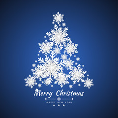 Merry Christmas and Happy New Year background with Christmas tree made of snowflakes. Vector illustration