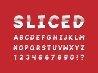 Sliced font. Vector alphabet