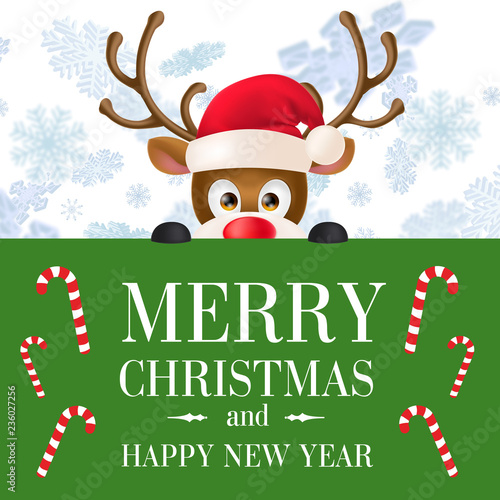 merry christmas and happy new year banner reindeer in santa hat peeping of green poster
