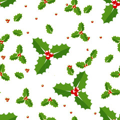 Christmas holly berries seamless pattern illustration