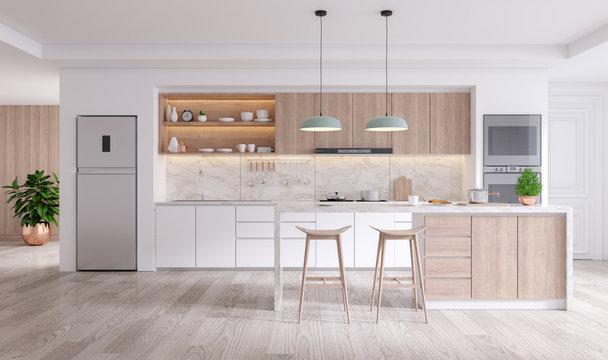 elegant contemporary kitchen room interior .3drender