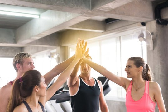 Hand coordination of group people motivated,Sporty young friendly team attractive and holding or join hands together
