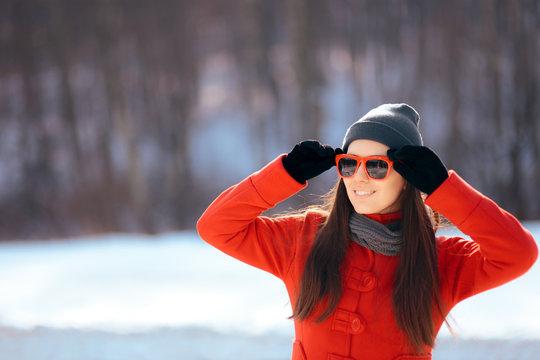 Winter Woman Wearing Sunglasses Outdoors