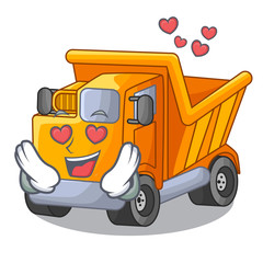 In love Truck on highway road with mascot