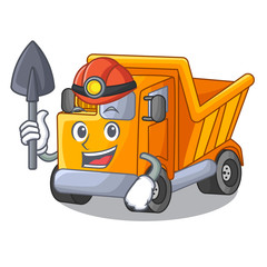 Miner Truck on highway road with mascot