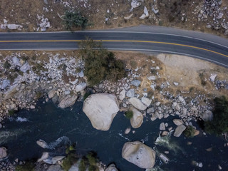 Cars driving through mountain pass, Sequoia National Park