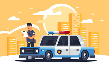 Urban modern sedan police car with policeman for protection of people on background of city.