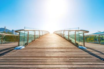 Glass handrails overpass