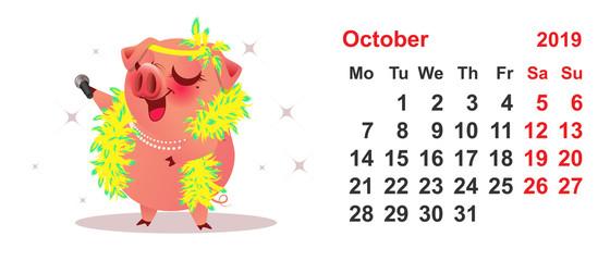 Pig female sings. Calendar October 2019 year grid