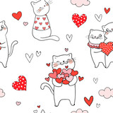 Draw Cat With Little Heart For Valentine Day Stock Image And