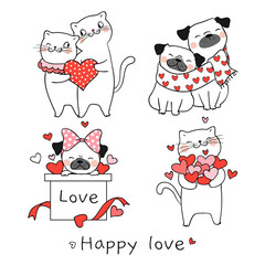 Draw portrait cat and pug dog for valentine day.
