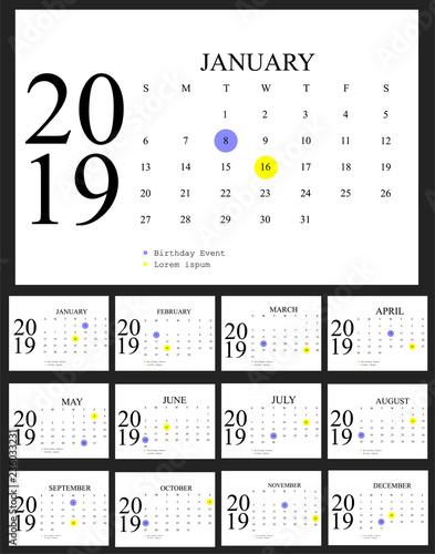 Desk Calendar 2019 Black And White Vector Template Vector Design