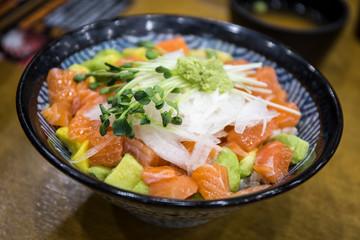 Avocado, Salmon, Onion with rice