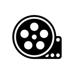 Film roll, old movie strip icon, cinema logo. Black icon on whit