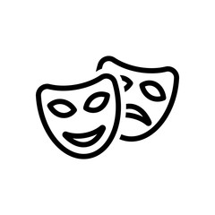 Smile and sad masks, comedy and drama theater, opposite emotions