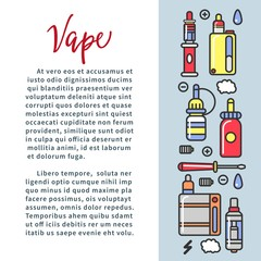Vape zone Internet shop promotional poster with modern devices for smoking