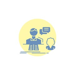 consultation, chat, answer, contact, support Glyph Icon.