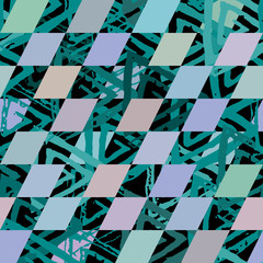 Seamless pattern with textured messy grunge triangles