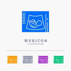 Maternity, pregnancy, sonogram, baby, ultrasound 5 Color Glyph Web Icon Template isolated on white. Vector illustration