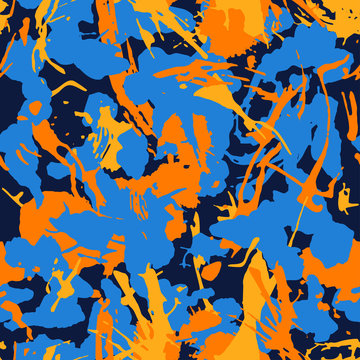 Abstract colorful seamless camouflage pattern with paint strokes and splashes elements for textile. Modern grunge background, seamless texture. Vector