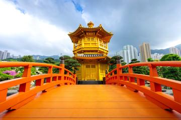 The Golden Pavilion Temple at Nan Lian Garden located in Diamond Hill,Kowloon,Hong Kong.