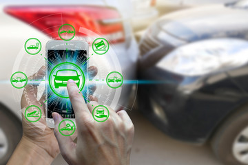 Hand use smartphone with car claim icons