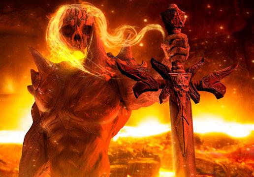 Fantasy horror infernal demon prince holding skull sword horizontal view.