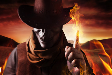 Cowboy with skull head and fire arm.