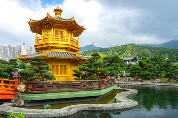 The Golden Pavilion Temple at Nan Lian Garden located in Diamond Hill,Kowloon,Hong Kong.