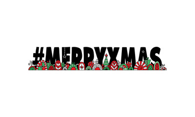 Hashtag Merry Xmas illustration with Christmas doodles