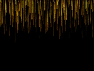 Abstract black striped background. Digital illustration. Falling particles.