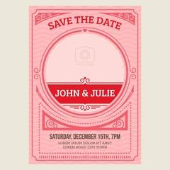 Vintage wedding invitation card. Vector illustation