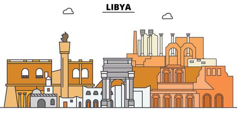 Libya line skyline vector illustration. Libya linear cityscape with famous landmarks, city sights, vector design landscape.