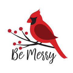 Red Cardinal bird on a winterberry branch vector illustration. Christmas Winter bird on a tree graphic.