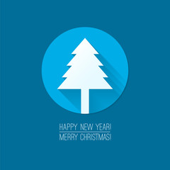 "Flat design concepts for Merry Christmas and Happy New Year cards. ""Christmas tree"" flat icon. Trendy design idea for banner, sign, ad etc. Blue background. Vector illustration for web and print."