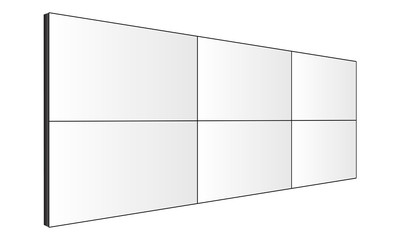 LCD video wall mockup - perspective side view. Vector illustration