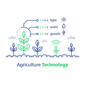 Smart farming, agriculture technology, plant stem and conditions report, infographic concept, growth control